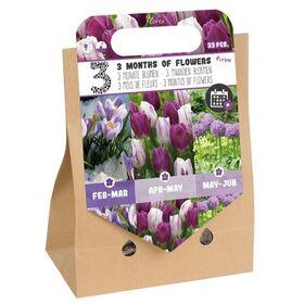 Pick-up tas 3 Months of Flowers Paars
